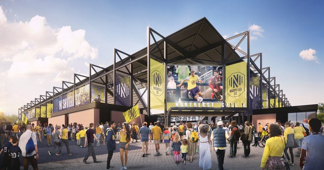 A rendering of Nashville SC's MLS stadium at the Fairgrounds