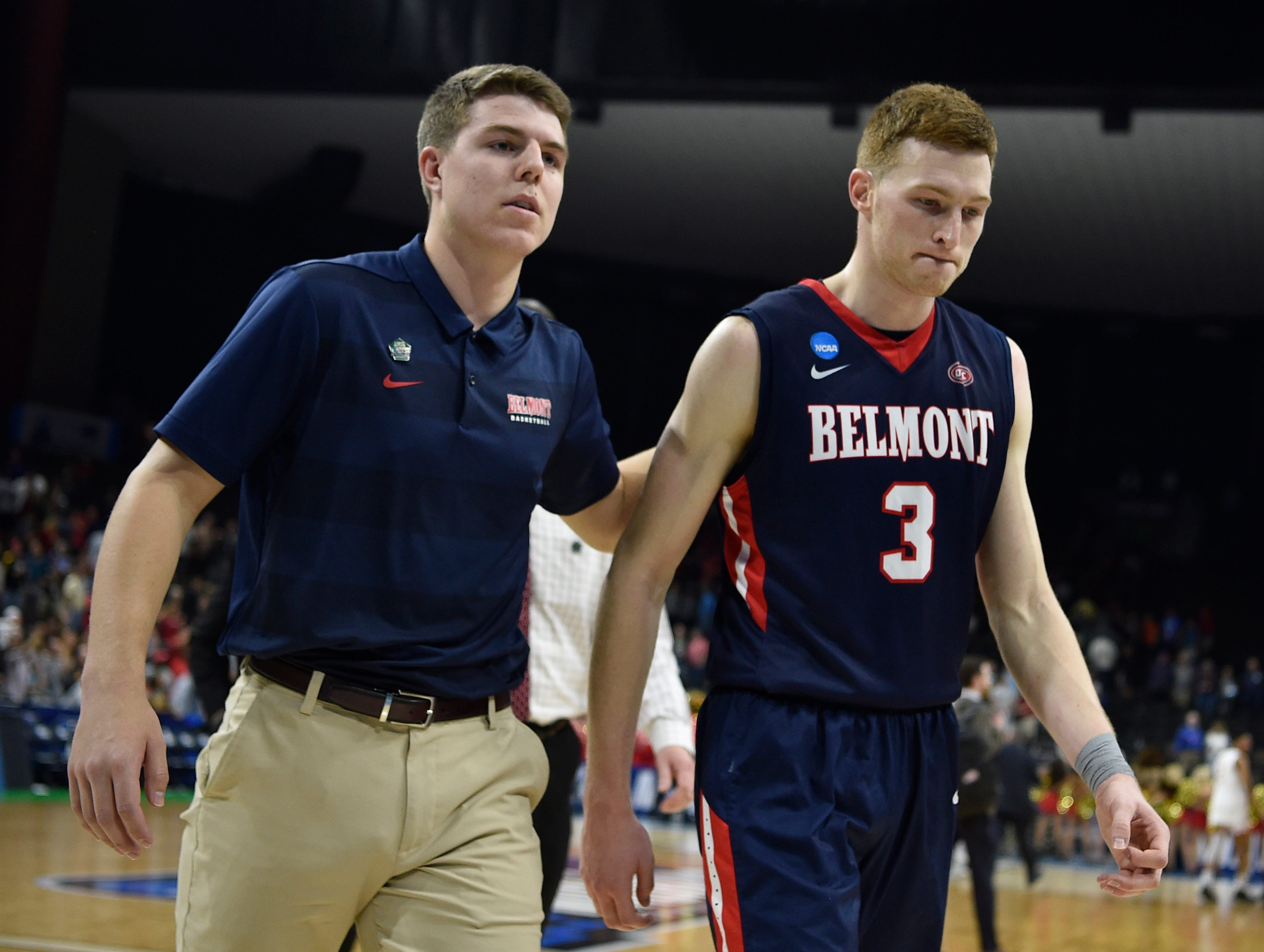 Belmont guard/forward Dylan Windler (3) reacts after the team's loss to Maryland in their first-round NCAA college basketball tournament game at VyStar Veterans Memorial Arena in Jacksonville, Fla., Thursday, March 21, 2019.