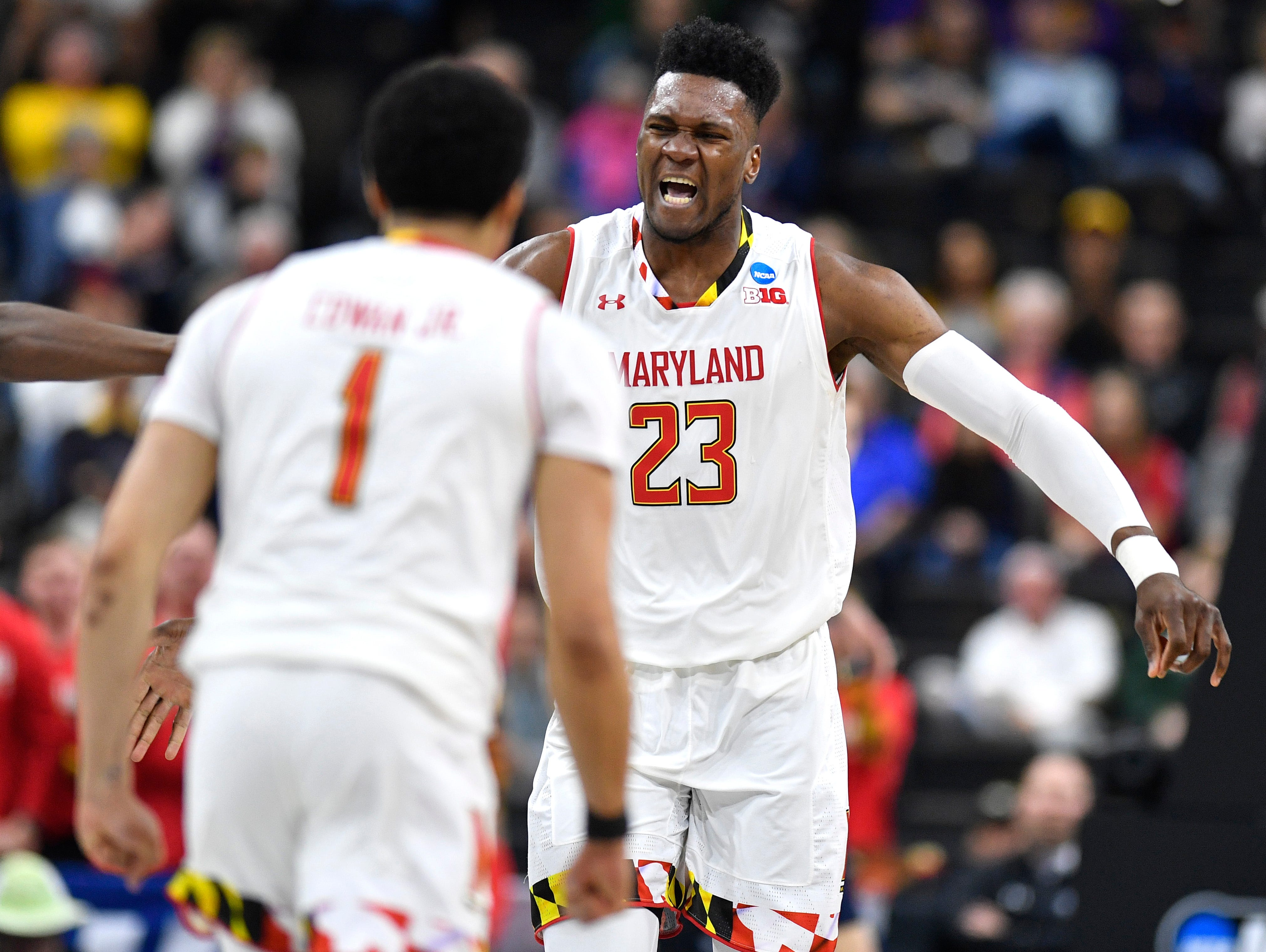 Maryland forward Bruno Fernando (23) reacts to scoring during the second half of the first-round NCAA college basketball tournament game at VyStar Veterans Memorial Arena in Jacksonville, Fla., Thursday, March 21, 2019.