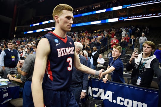 Belmont guard/forward Dylan Windler (3) leaves the court after the team's loss to Maryland in their first-round NCAA college basketball tournament game at VyStar Veterans Memorial Arena in Jacksonville, Fla., Thursday, March 21, 2019.
