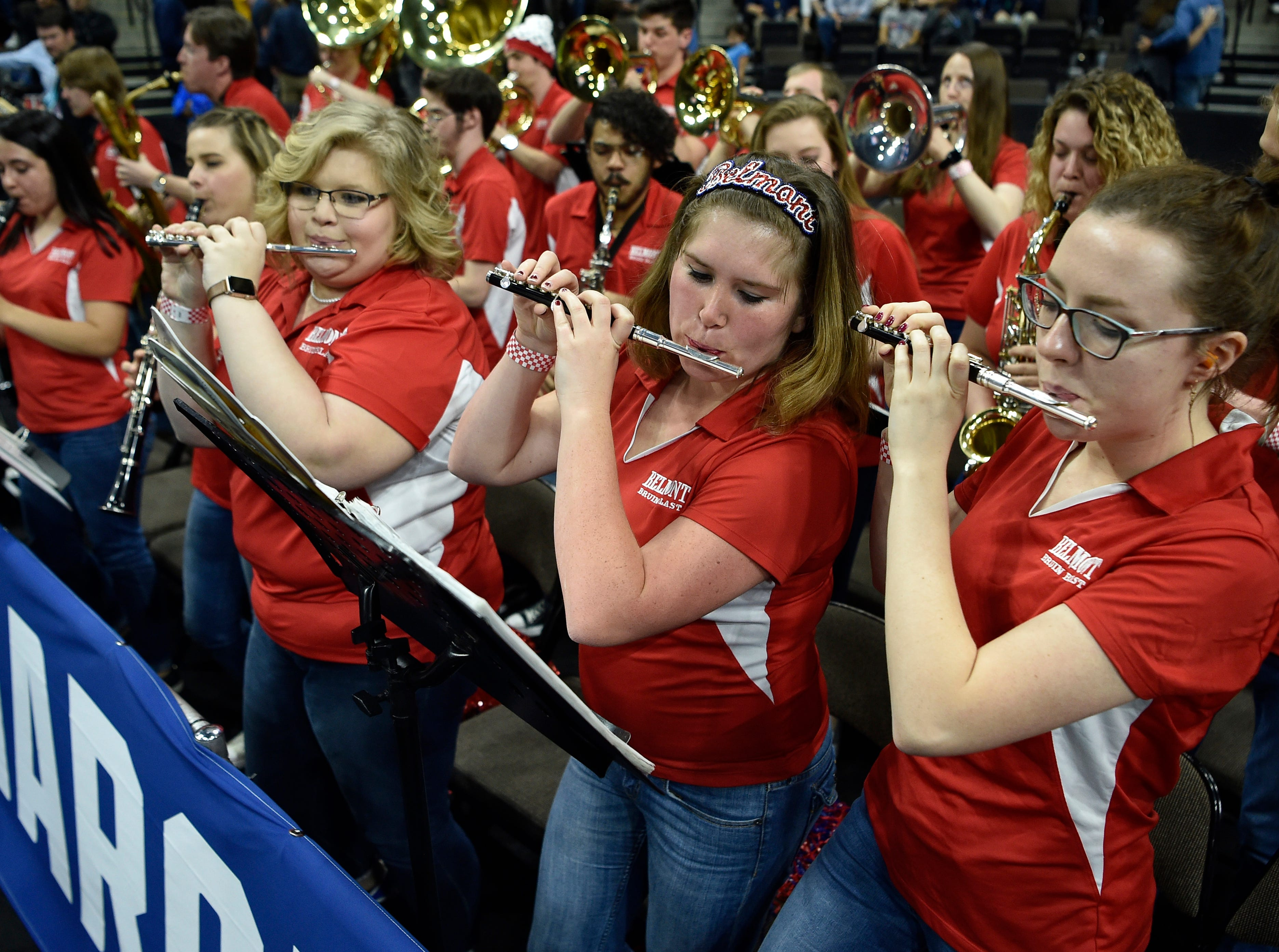 Belmont performs during halftime of the first-round NCAA college basketball tournament game against Maryland at VyStar Veterans Memorial Arena in Jacksonville, Fla., Thursday, March 21, 2019.
