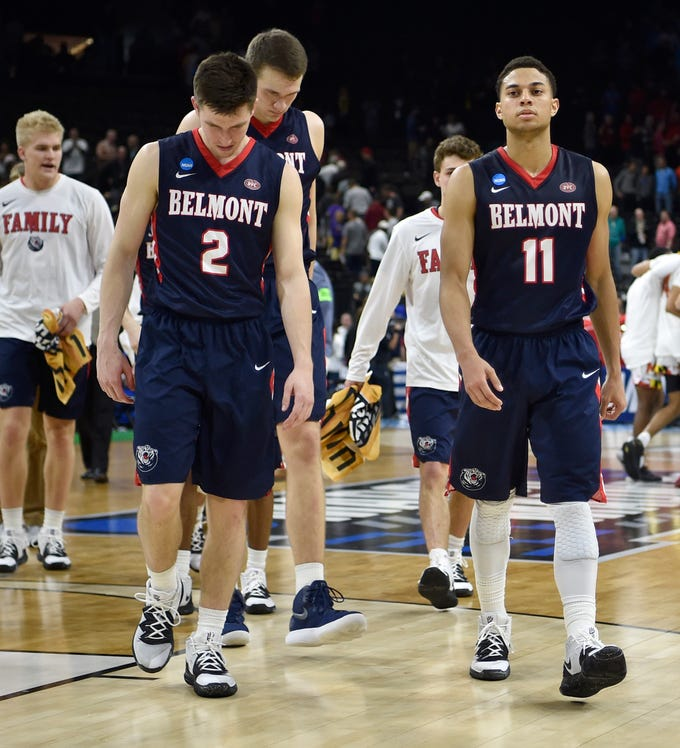 Belmont players walk off the court after the loss to Maryland in the first-round NCAA college basketball tournament game at VyStar Veterans Memorial Arena in Jacksonville, Fla., Thursday, March 21, 2019.