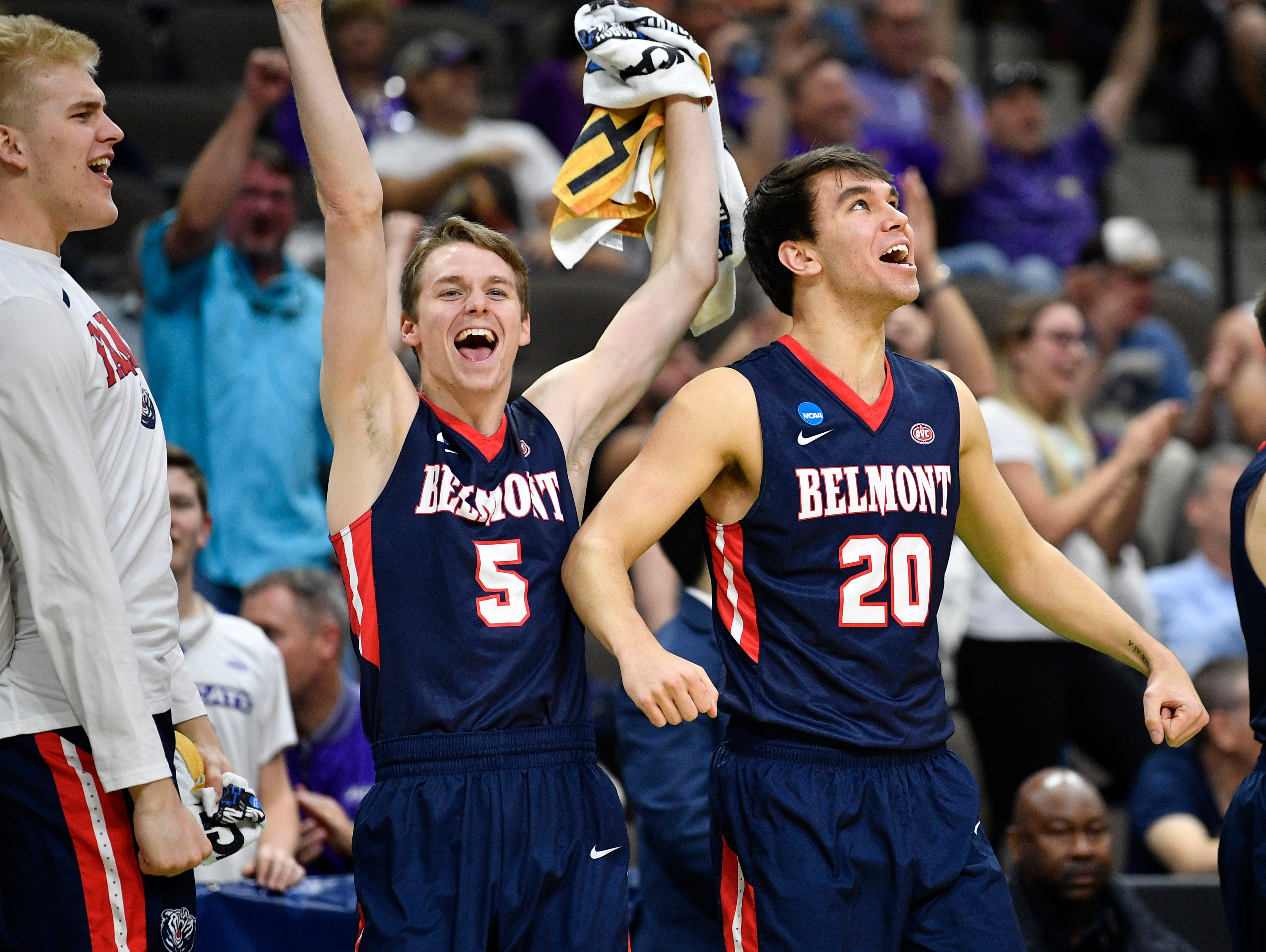 Belmont's bench reacts during the second half of the first-round NCAA college basketball tournament game at VyStar Veterans Memorial Arena in Jacksonville, Fla., Thursday, March 21, 2019.