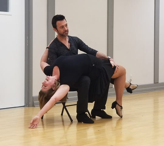 Nashville businesswoman Becky Harris and her professional dance partner, Christopher Wayne, rehearse for their performance at charity event Dancing for Safe Haven.