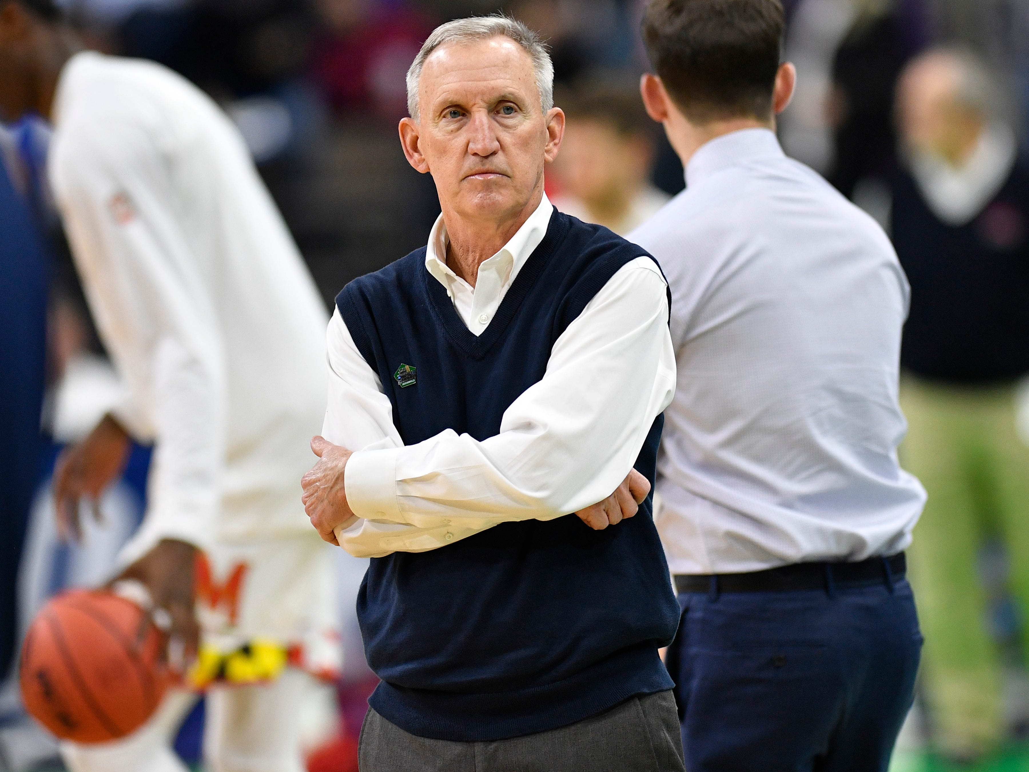 Belmont head coach Rick Byrd watches warmups before the start of the first-round NCAA college basketball tournament game against Maryland at VyStar Veterans Memorial Arena in Jacksonville, Fla., Thursday, March 21, 2019.