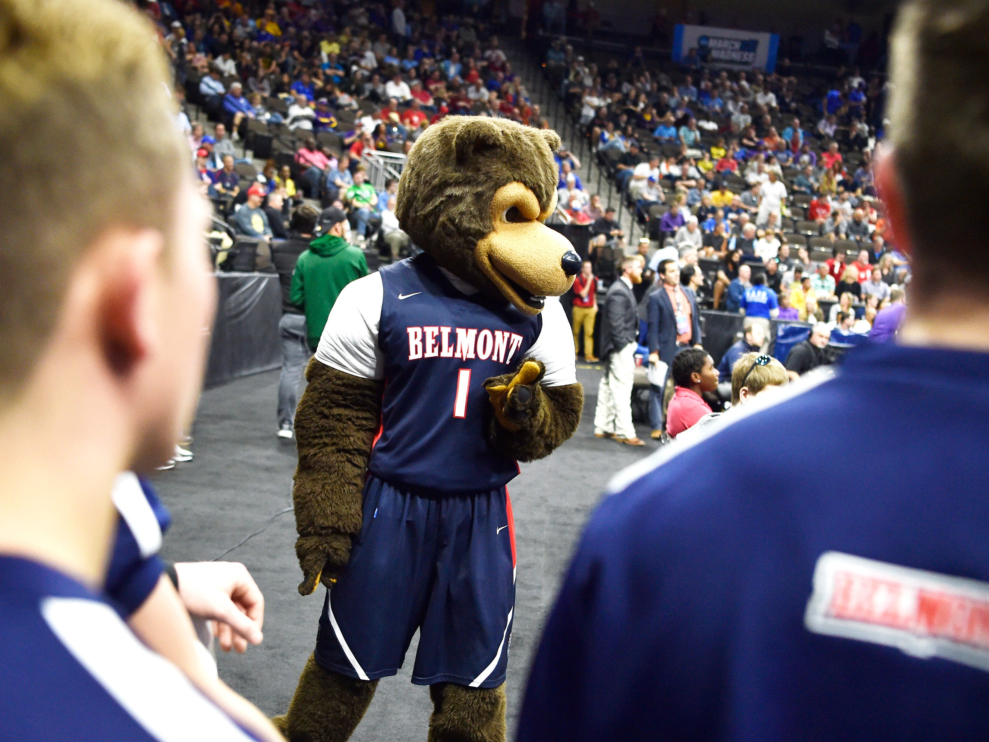 Bruiser, the Belmont mascot, waits on the sidelines of the LSU-Yale game for the start of the Bruins' first-round NCAA college basketball tournament game against Maryland at VyStar Veterans Memorial Arena in Jacksonville, Fla., Thursday, March 21, 2019.
