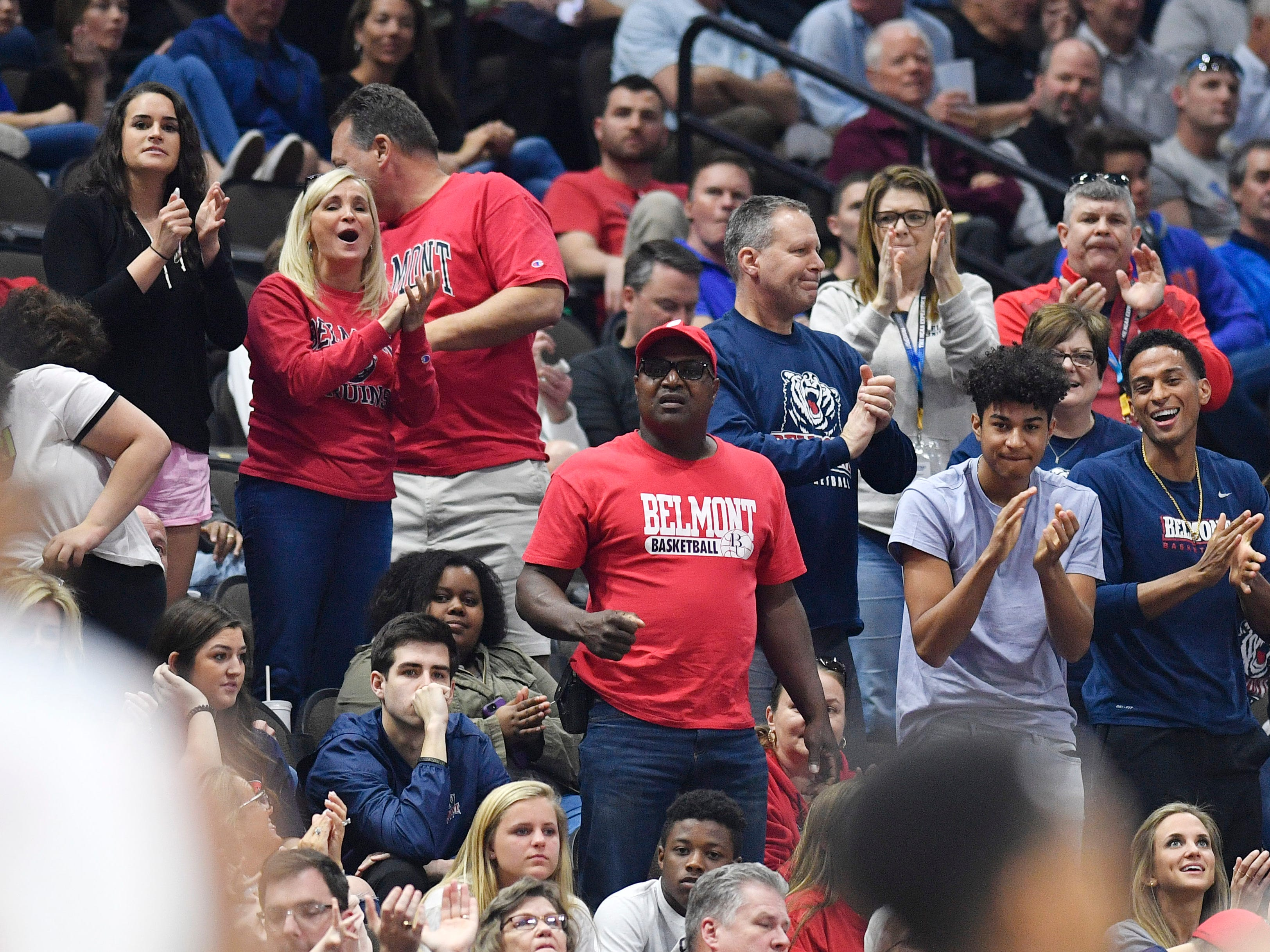 Belmont fans cheer during the first half of the first-round NCAA college basketball tournament game against Maryland at VyStar Veterans Memorial Arena in Jacksonville, Fla., Thursday, March 21, 2019.