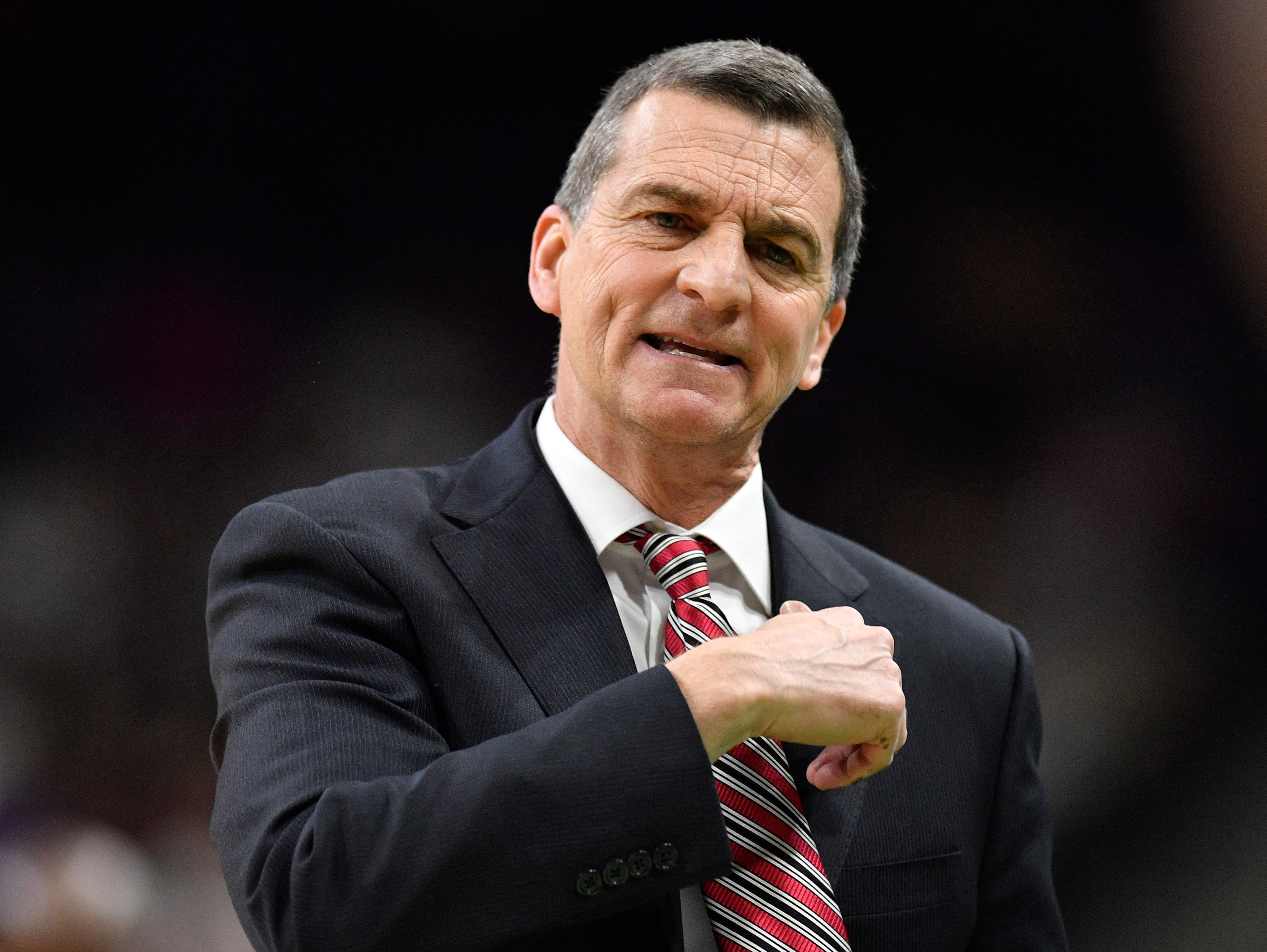 Maryland head coach Mark Turgeon reacts during the first half of their game against Belmont in the first-round NCAA college basketball tournament game at VyStar Veterans Memorial Arena in Jacksonville, Fla., Thursday, March 21, 2019.