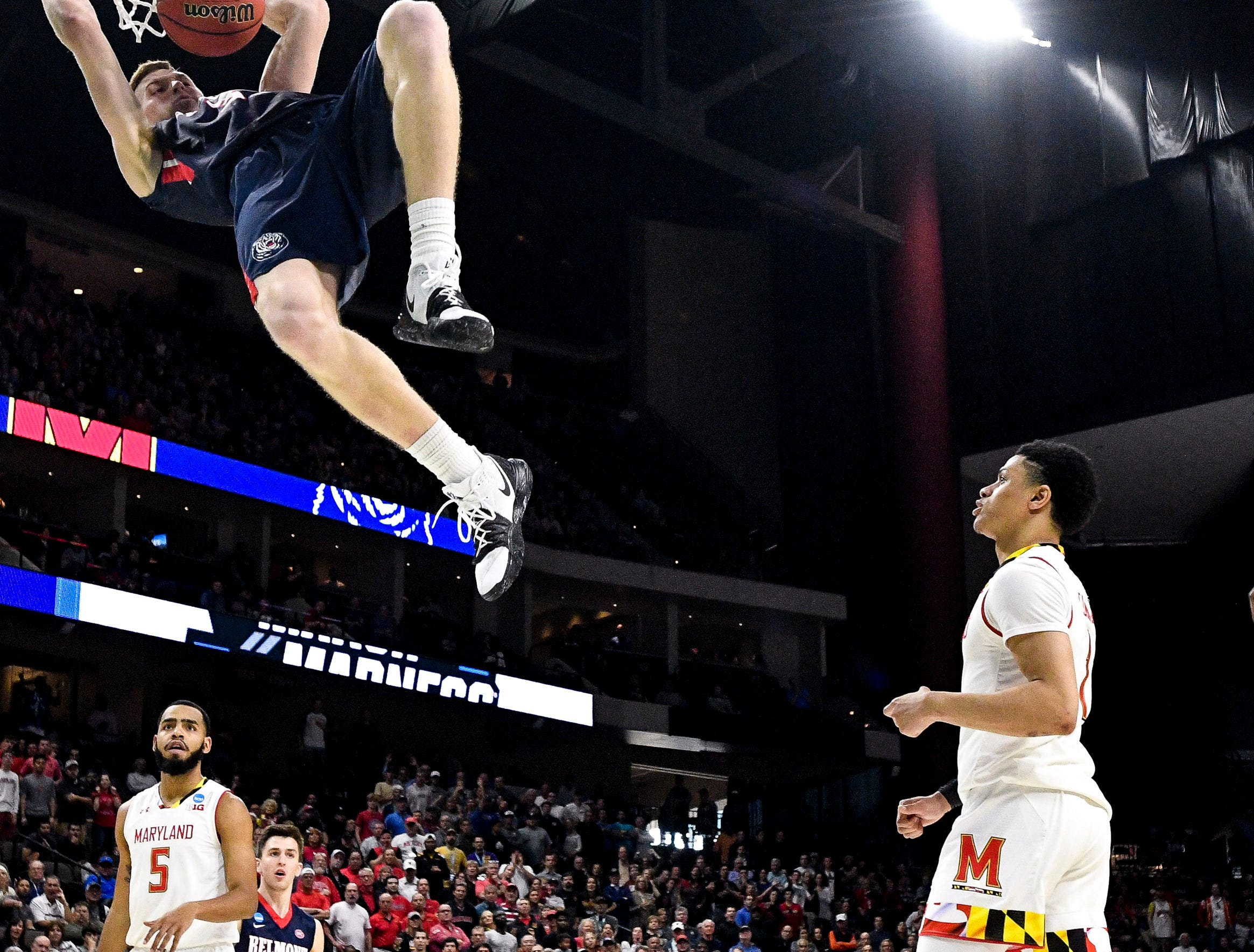 Belmont guard/forward Dylan Windler (3) dunks against Maryland during the second half of the first-round NCAA college basketball tournament game at VyStar Veterans Memorial Arena in Jacksonville, Fla., Thursday, March 21, 2019.