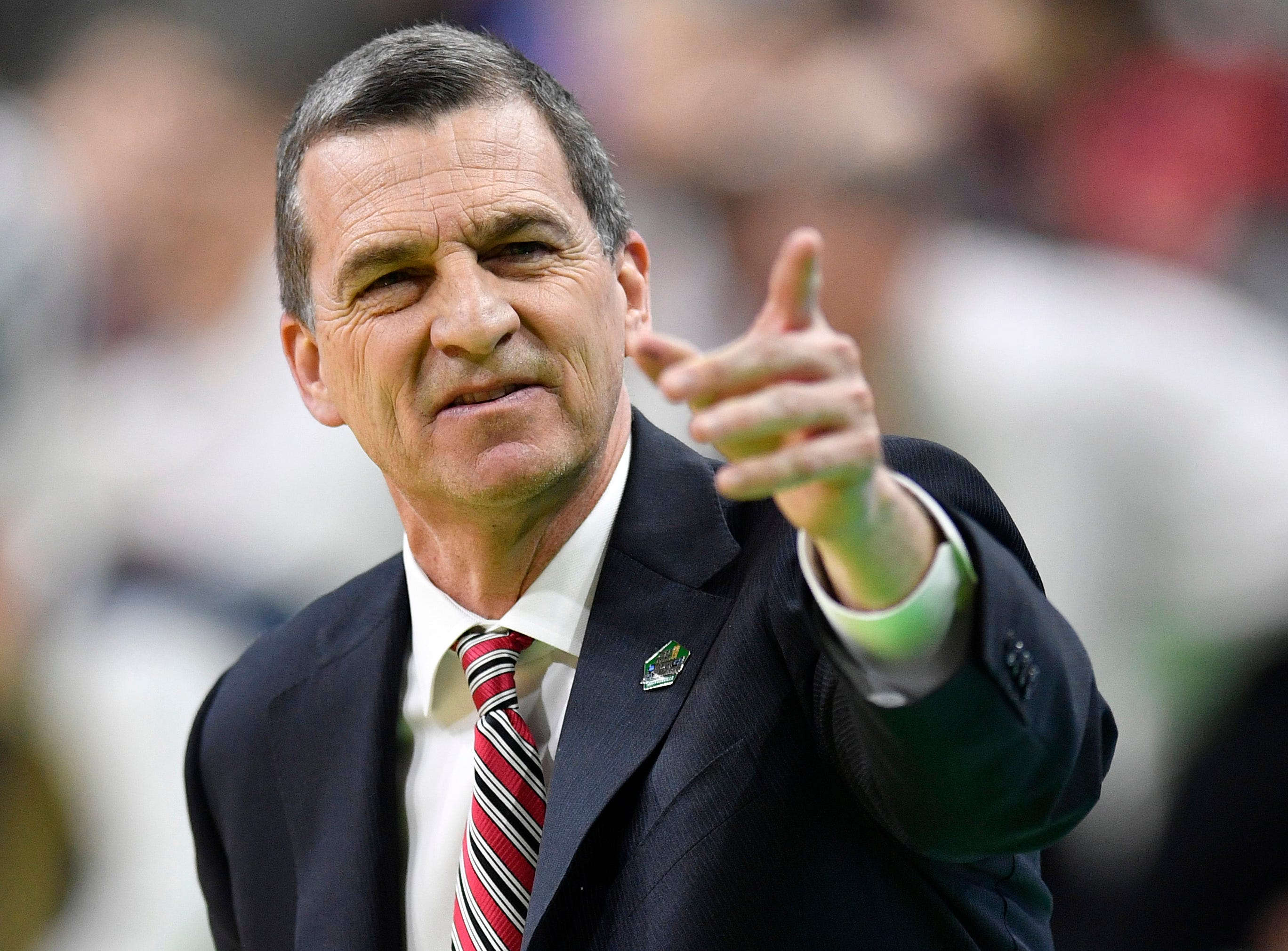 Maryland head coach Mark Turgeon directs his team during the first half of the first-round NCAA college basketball tournament game against Belmont at VyStar Veterans Memorial Arena in Jacksonville, Fla., Thursday, March 21, 2019.