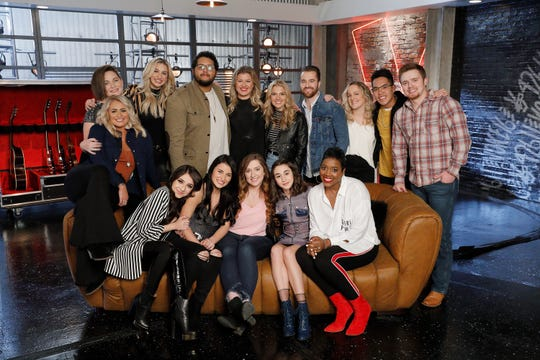 """The Voice"": Abby Kasch, Rizzi Myers, Presley Tennant, Karen Galera, David Owens, Alena DAmico, Kelly Clarkson, Rebecca Howell, The Bundys, Mikaela Astel, Beth Griffith-Manley, Jej Vinson and Jackson Marlow"
