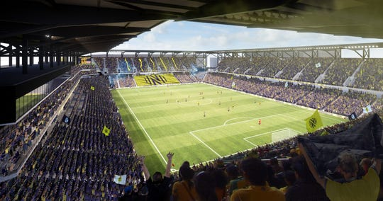 A rendering of Nashville SC's MLS stadium at the Fairgrounds