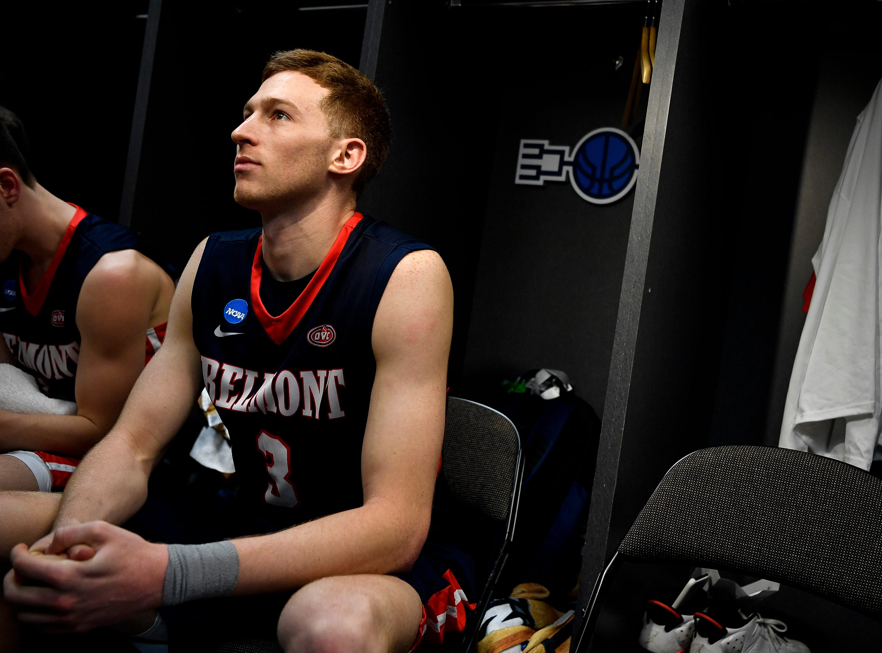 Belmont guard/forward Dylan Windler (3) speaks to reporters in the locker room after their first-round NCAA college basketball tournament loss to Maryland at VyStar Veterans Memorial Arena in Jacksonville, Fla., Thursday, March 21, 2019.