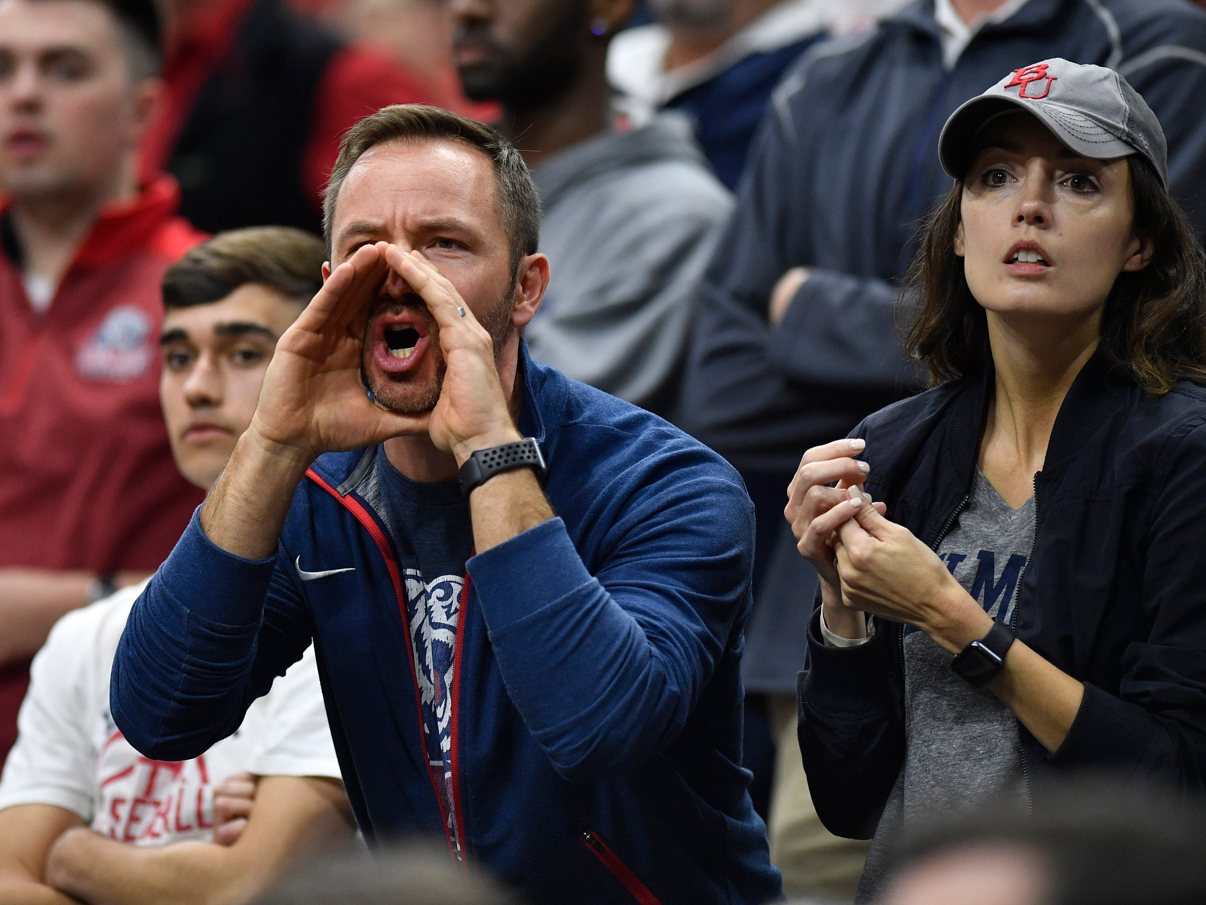 Belmont fans yell during the second half of the first-round NCAA college basketball tournament game against Maryland at VyStar Veterans Memorial Arena in Jacksonville, Fla., Thursday, March 21, 2019.