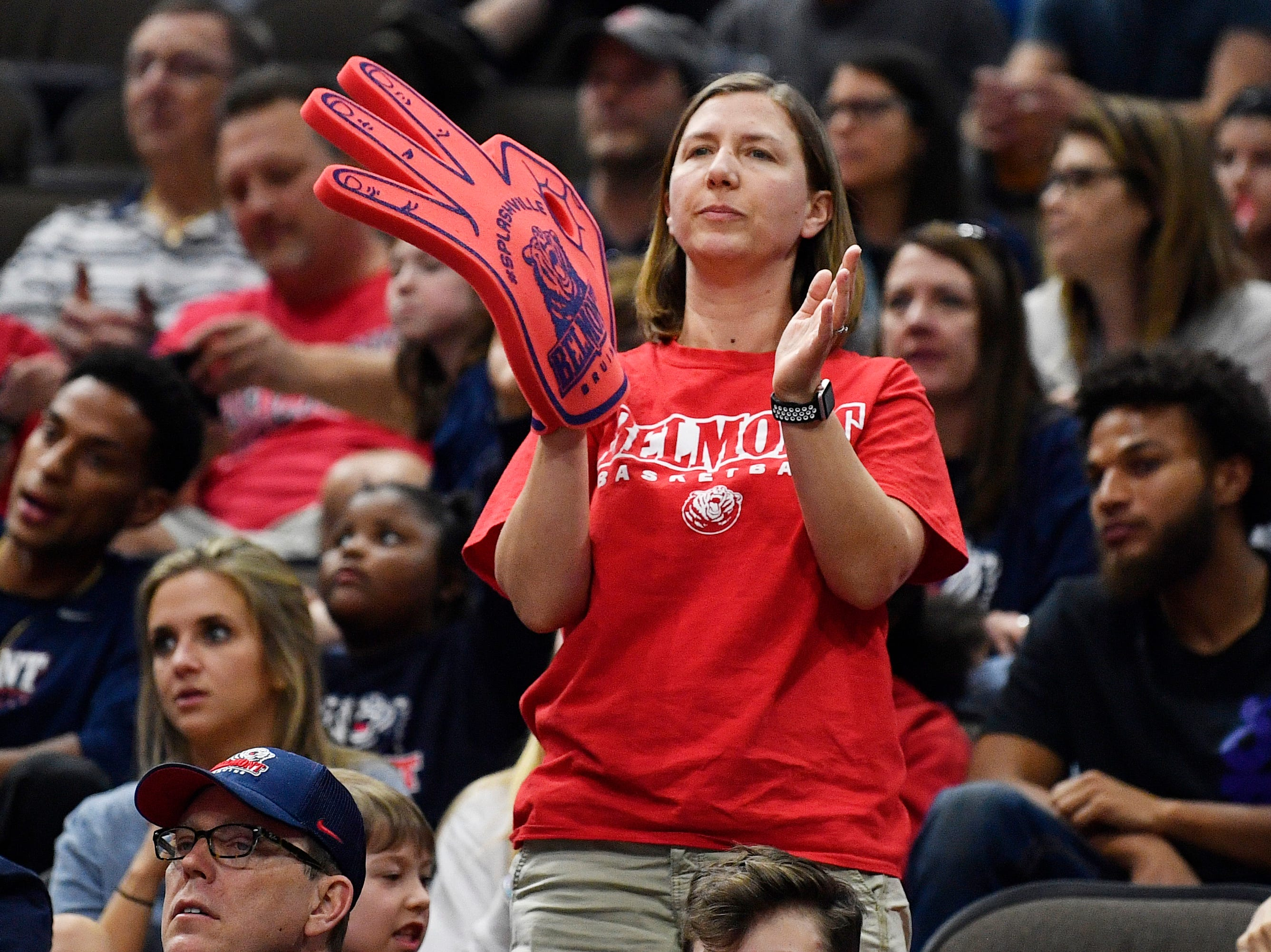 Belmont fans cheer during the second half of the first-round NCAA college basketball tournament game against Maryland at VyStar Veterans Memorial Arena in Jacksonville, Fla., Thursday, March 21, 2019.