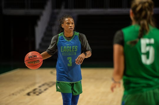 FGCU's Keri Jewett-Giles practices for the Eagles' first-round game at Watsco Center in Coral Gables on Thursday.