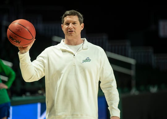 FGCU coach Karl Smesko during practice for the Eagles' first-round game at Watsco Center in Coral Gables on Thursday.