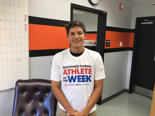 Lely baseball player Angel Palacios has been named the Naples Daily News Athlete of the Week after picking up eight hits, seven RBIs and a win on the mound in four games over the last two weeks - all Lely wins.