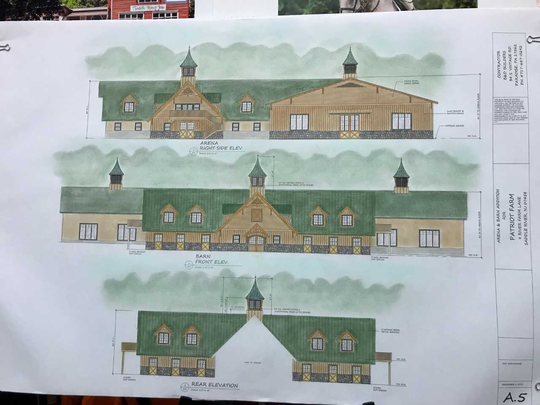 Patriot's Farm side view of arena and barn, front and rear of barn, show roof cupolas for which variances are requested.