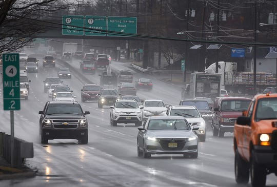 Light rain falls as the cars on Route 4 East are seen in Paramus on 03/20119.