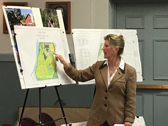 Equine landscape planner Deborah Cerbone explains building position proposed for Patriot's Farm in Saddle River.