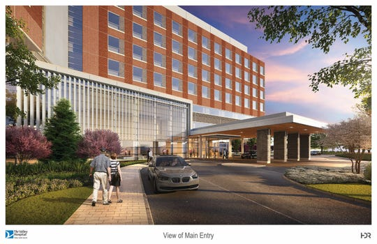 A rendering showing the exterior of the proposed Valley Hospital location in Paramus.