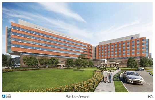 A rendering showing the proposed Valley Hospital location in Paramus.