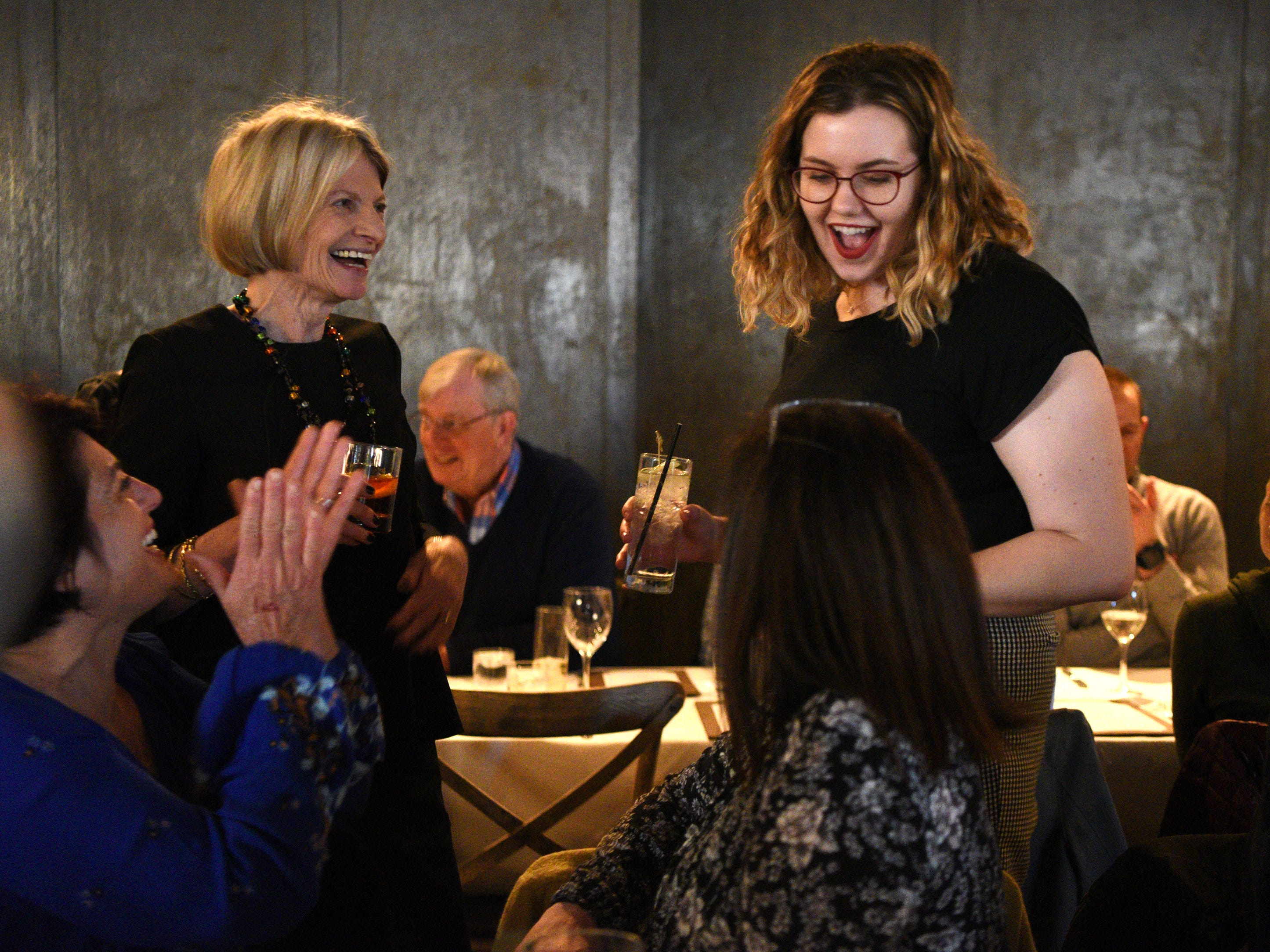 "Esther Davidowitz, on left, food editor at NorthJersey.com hosted a ""Dinner with Esther"" at Felina in Ridgewood on Tuesday, March 19, 2019. Davidowitz and Rebecca King, food and dining reporter mingle with guests."