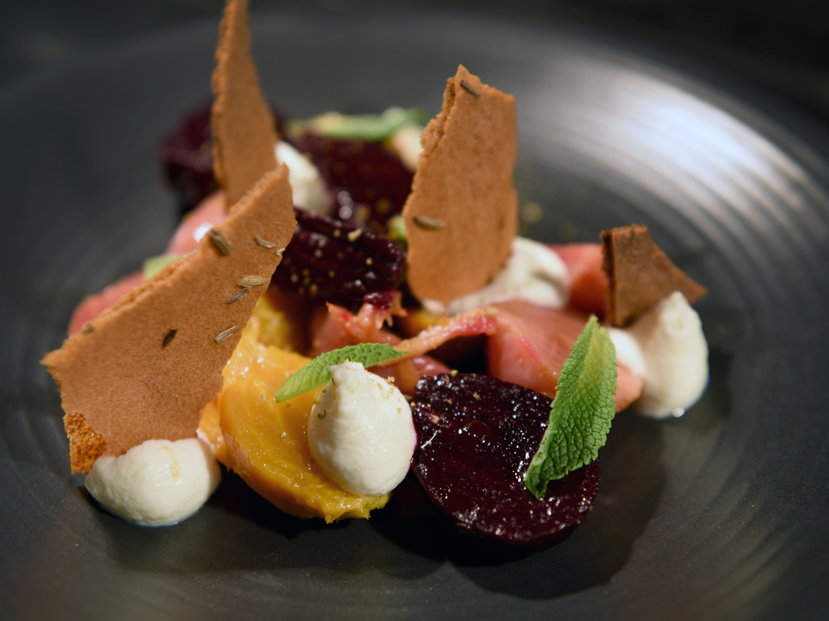 "Esther Davidowitz, food editor at NorthJersey.com hosted a ""Dinner with Esther"" at Felina in Ridgewood on Tuesday, March 19, 2019. The event featured a four-course meal and dessert with wine pairings. Roasted beets with fennel pollen, ricotta and mint."