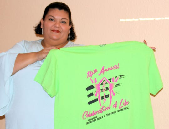 Cancer Support of Deming and Luna County Inc. is now accepting pre-orders for the Celebration of Life Cancer Walk commemorative t-shirt displayed by Joanna Costilla, patient advocate. The shirts can be Cancer Support of Deming and Luna County Inc. is now accepting pre-orders for the Celebration of Life Cancer Walk commemorative t-shirt displayed by Joanna Costilla, patient advocate. The shirts can be pre-ordered at the Cancer Support Office at 215 N. Country Club Road in the historic train depot building or from your team leader.
