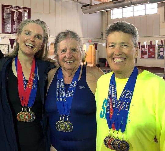 From left are Deming Senior Olympic swimmers Teresa Ortiz, Yenny van Dinter and Pamela Gulbrandson.