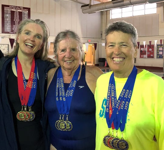 From left are Deming Senior Olympic swimmers Teresa Ortiz, Yenny van Dinter and Pamela Gulbrandson.