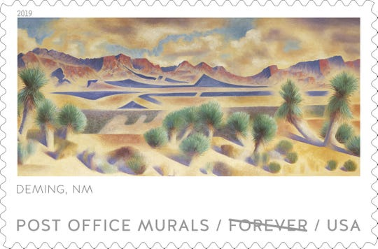 This is a sample of what the Deming Post Office mural stamp will look like.