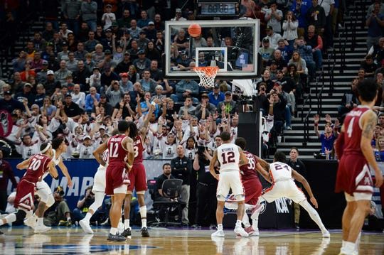 New Mexico State guard Terrell Brown (3) misses his third free throw against Auburn in the first round of the NCAA Tournament at Vivint Smart Home Arena on March 21, 2020, in Salt Lake City.