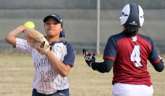 Sophomore Lady Colts shortstop Ajia Richard (12) was a double shy of the hitting for the cycle in game two of the Silver High sweep over Deming. Richard went 3-for-4 with a homer, single and a triple.