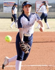 Senior Lady Colts pitcher Kamryan Trujillo makes her delivery to the plate during Tuesday's double-dip against Deming High. Trujillo struck out 19 batters in 14 innings of work for the 6-0 ad 9-1 sweep.