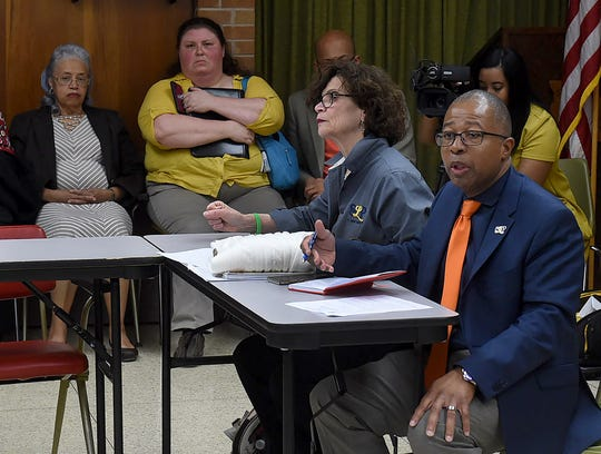 Superintendent Patrick Jenkins speaks during a school board meeting Wednesday. The council voted on a plan that would shut down two elementary schools.