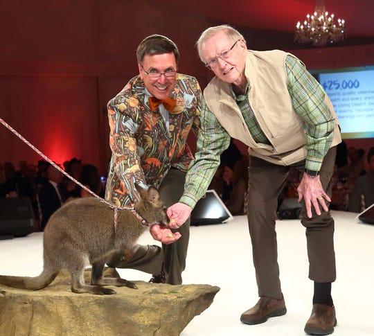 The Living Desert President and CEO Allen Monroe and Kirk Lanterman celebrate the Fall 2019 opening of the new Australian habitat.