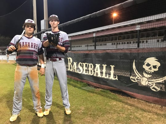 Branson Ackman (left) and Cameron Terrian are key senior leaders that have helped Navarre through a rough start that's turning into a successful season.