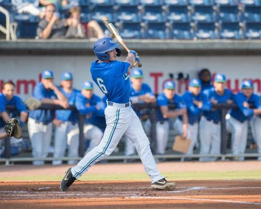 Dylan Menhennett (6) bats during the University of Wisconsin-Whitewater vs University of West Florida baseball game at Blue Wahoos Stadium in Pensacola on Wednesday, March 20, 2019.