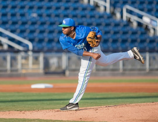 Josh Pahlad (30) pitches during the University of Wisconsin-Whitewater vs University of West Florida baseball game at Blue Wahoos Stadium in Pensacola on Wednesday, March 20, 2019.