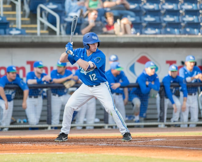 Matt Sullivan (12) bats during the University of Wisconsin-Whitewater vs University of West Florida baseball game at Blue Wahoos Stadium in Pensacola on Wednesday, March 20, 2019.