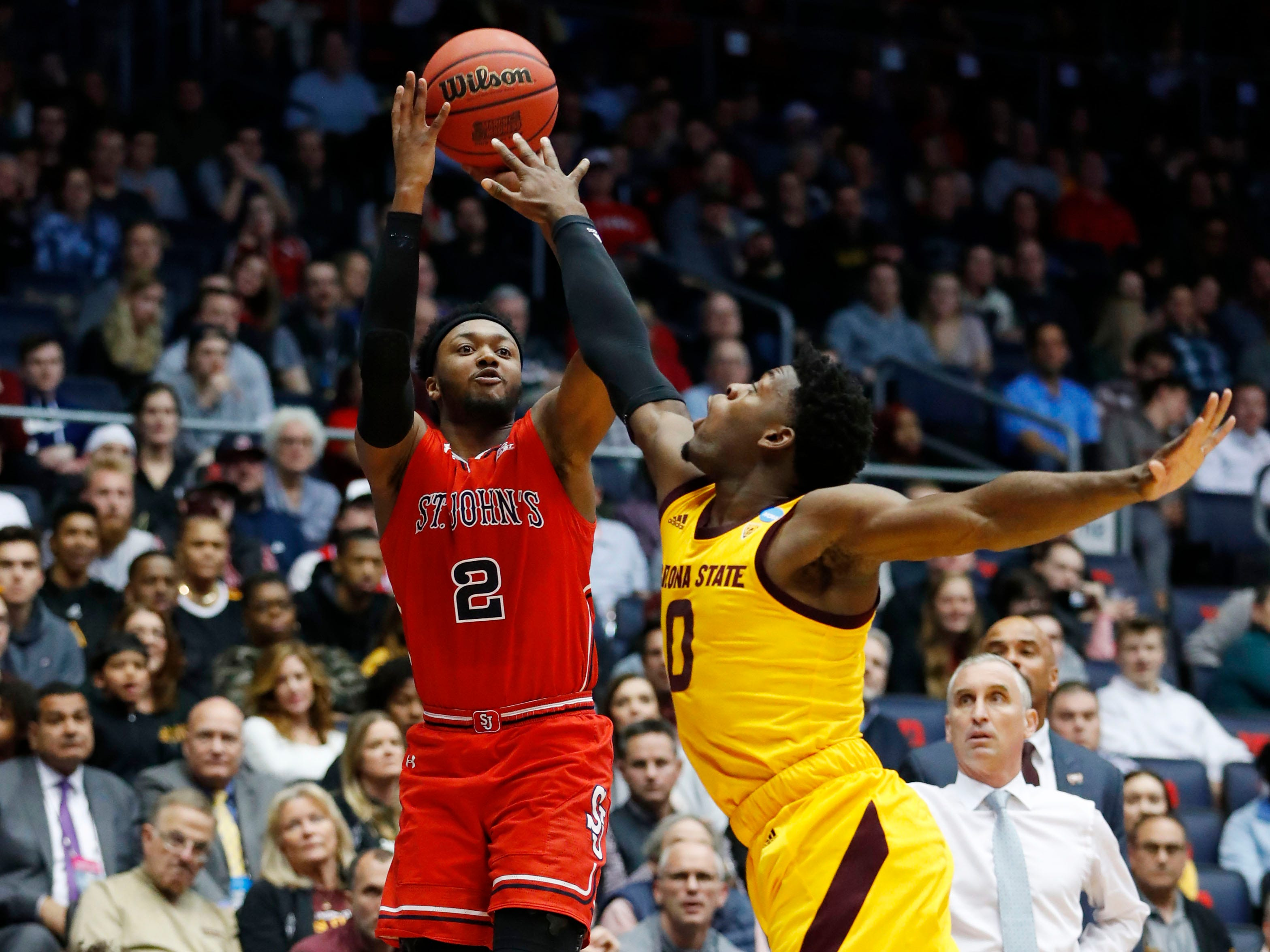 Mar 20, 2019; Dayton, OH, USA; St. John's Red Storm guard Shamorie Ponds (2) shoots the ball over Arizona State Sun Devils guard Luguentz Dort (0) in the first half in the First Four of the 2019 NCAA Tournament at Dayton Arena. Mandatory Credit: Rick Osentoski-USA TODAY Sports