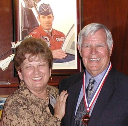 Roger Parrish (right) and his wife, Bette, at his induction into the Arizona Aviation Hall of Fame in 2007.