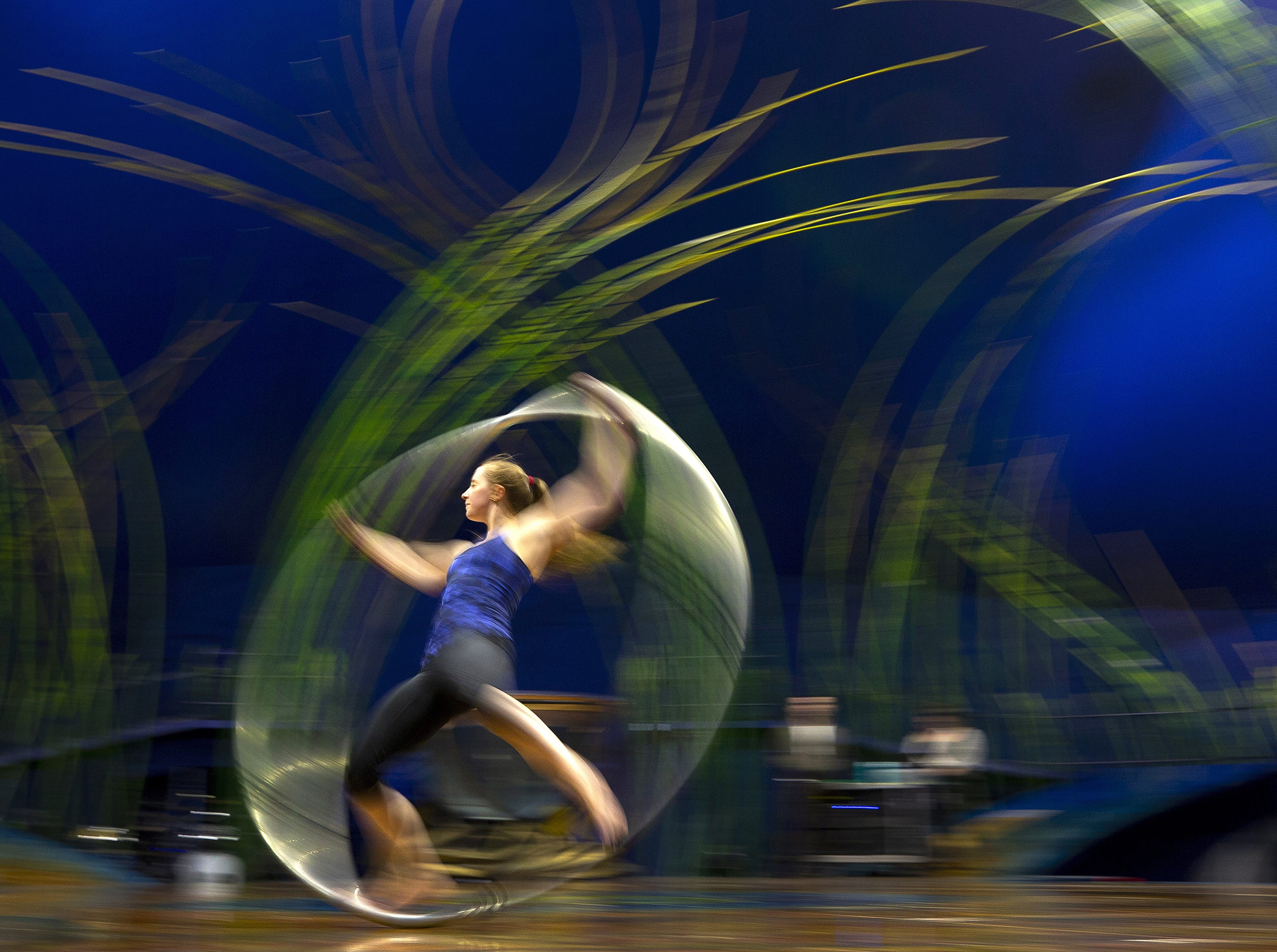 Circus artist, Shona Morgan, rehearses for Cirque du Soleil big-top show, Amaluna, at State Farm Stadium in Glendale.