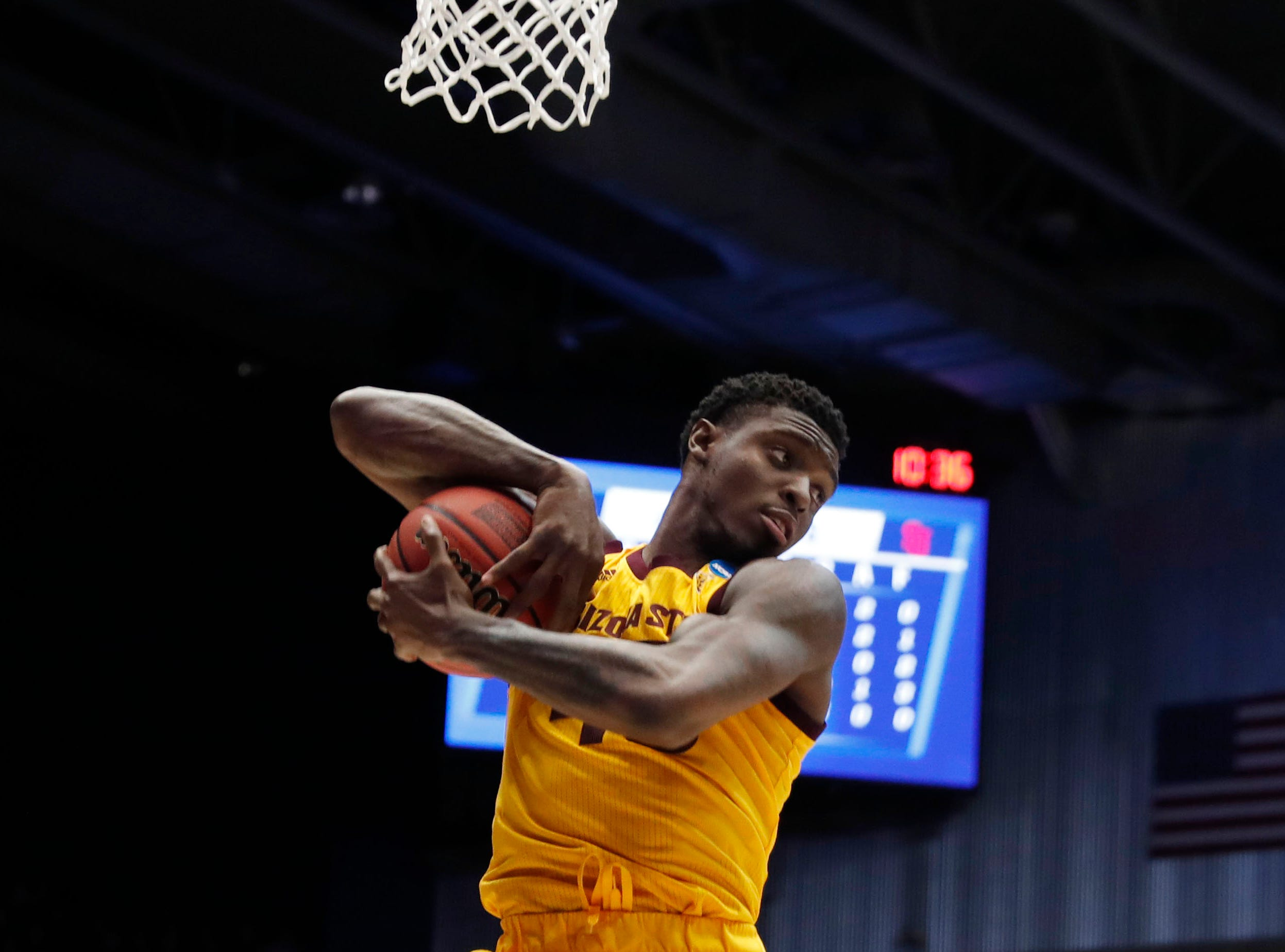 Mar 20, 2019; Dayton, OH, USA; Arizona State Sun Devils forward Zylan Cheatham (45) gets a rebound in the second half against the St. John's Red Storm in the First Four of the 2019 NCAA Tournament at Dayton Arena. Mandatory Credit: Brian Spurlock -USA TODAY Sports