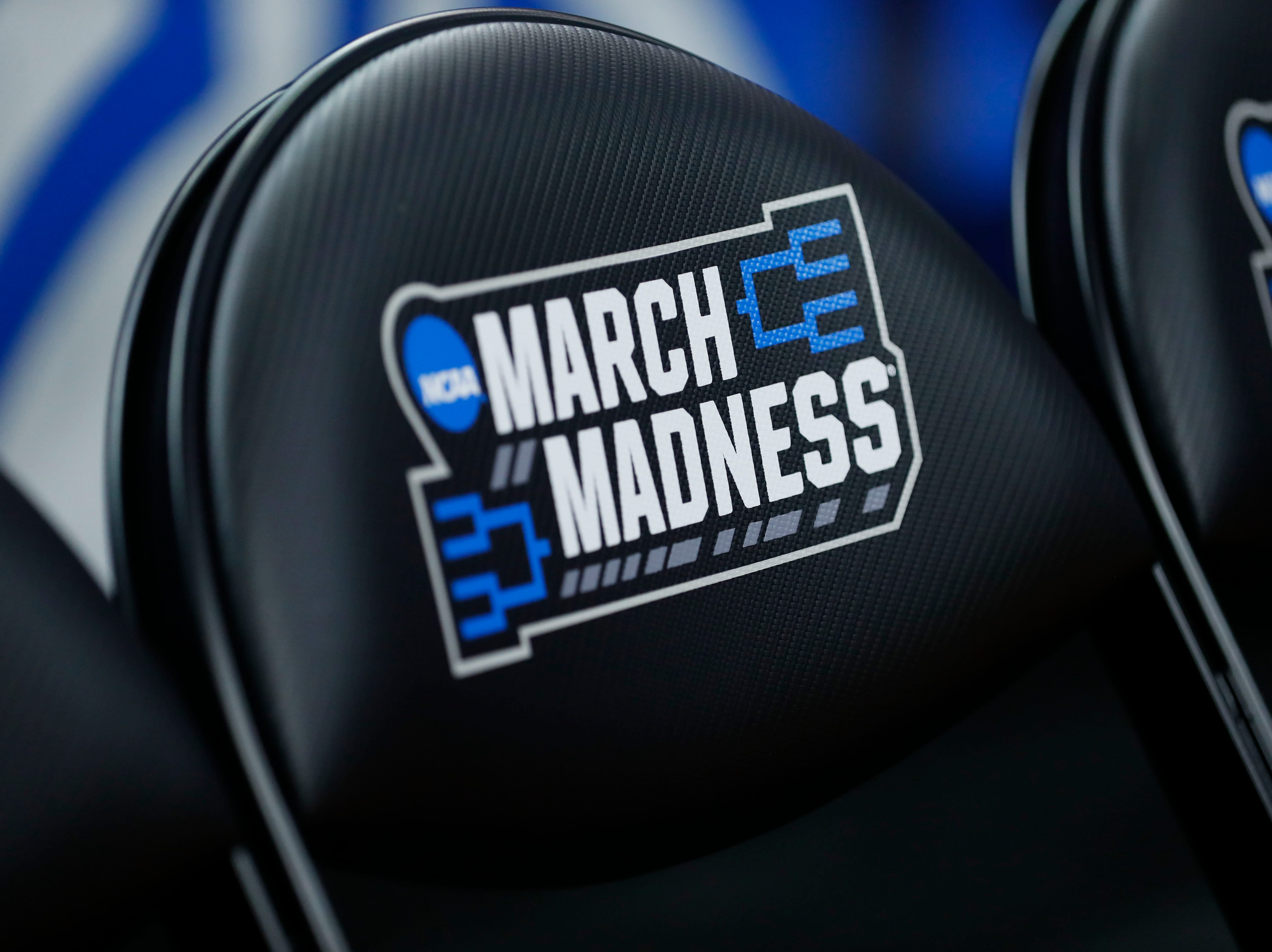 Mar 21, 2019; Columbus, OH, USA; March Madness logo during practice before the first round of the 2019 NCAA Tournament at Nationwide Arena. Mandatory Credit: Rick Osentoskij-USA TODAY Sports
