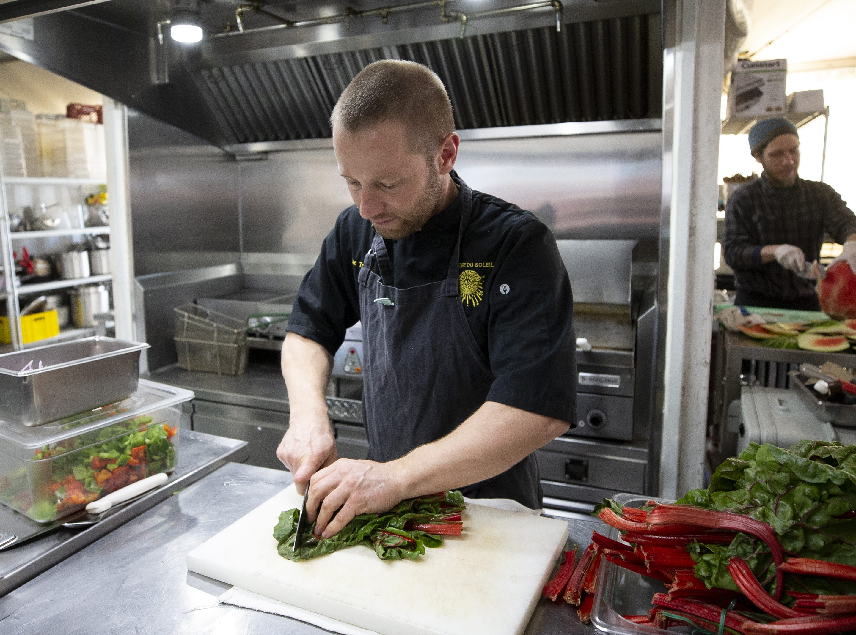 "Chef Luc Trocme and his crew serve 200 to 250 meals per day, six days a week in make-shift kitchens for the cast and crew of Cirque du Soleil's ""Amaluna."""