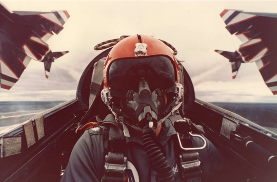 Roger Parrish flying an F-4 as a member of the U.S. Air Force Thunderbirds.