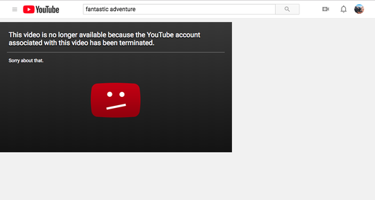 Screenshot of the Fantastic Adventures YouTube account after it was terminated